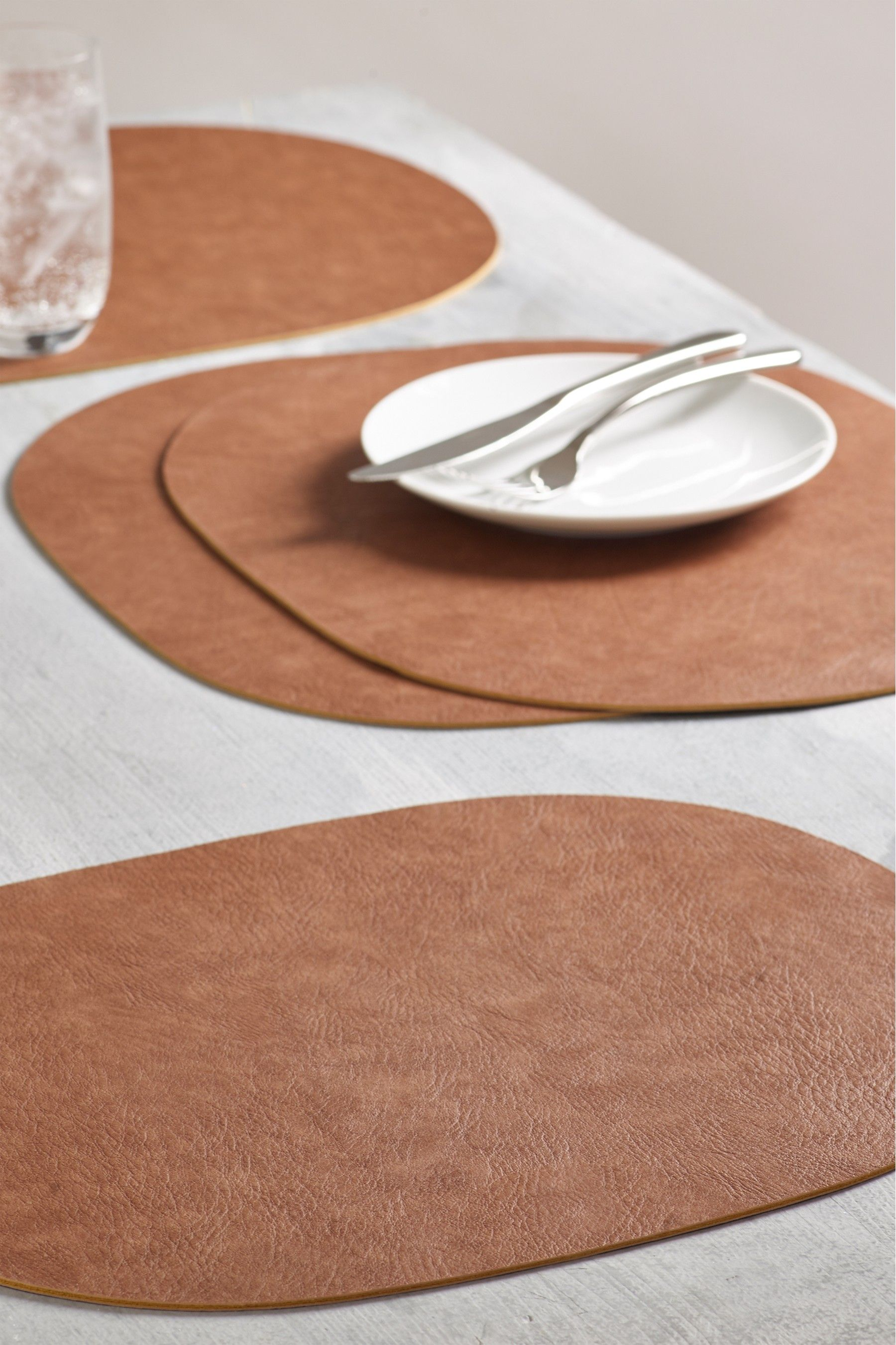 Next Set Of 4 Faux Leather Placemats Brown Placemats Grey Placemats Perfect Gin And Tonic