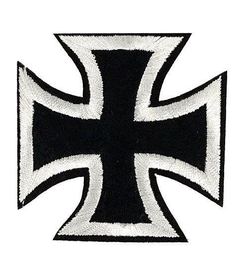 New Embroidered Black Chopper Cross Iron On  Biker