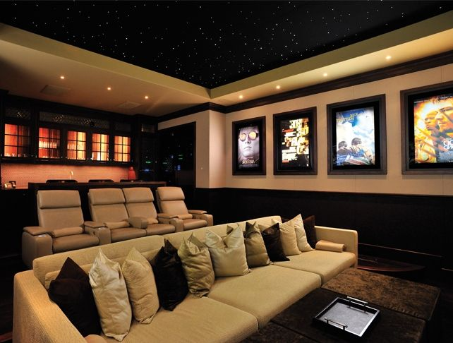 Simple basement home theater room decorating ideas for basement man cave pinterest - Diy home theater design idea ...