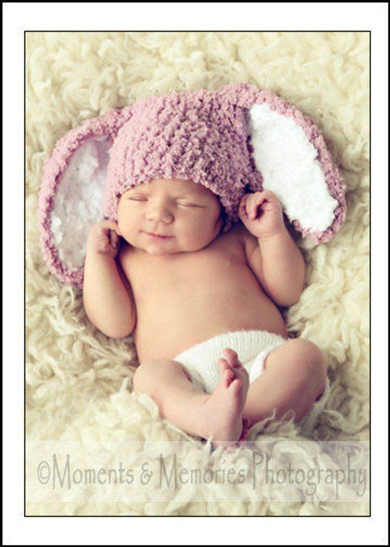 Premature Newborn Rose Pink Bunny Ears Hat  Tiny Baby Soft