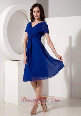 Elegant Royal Blue Mother Of The Bride Dress Empire V Neck Chiffon
