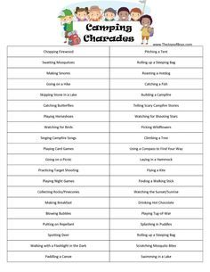 Camping Games Printable Charades For All Ages