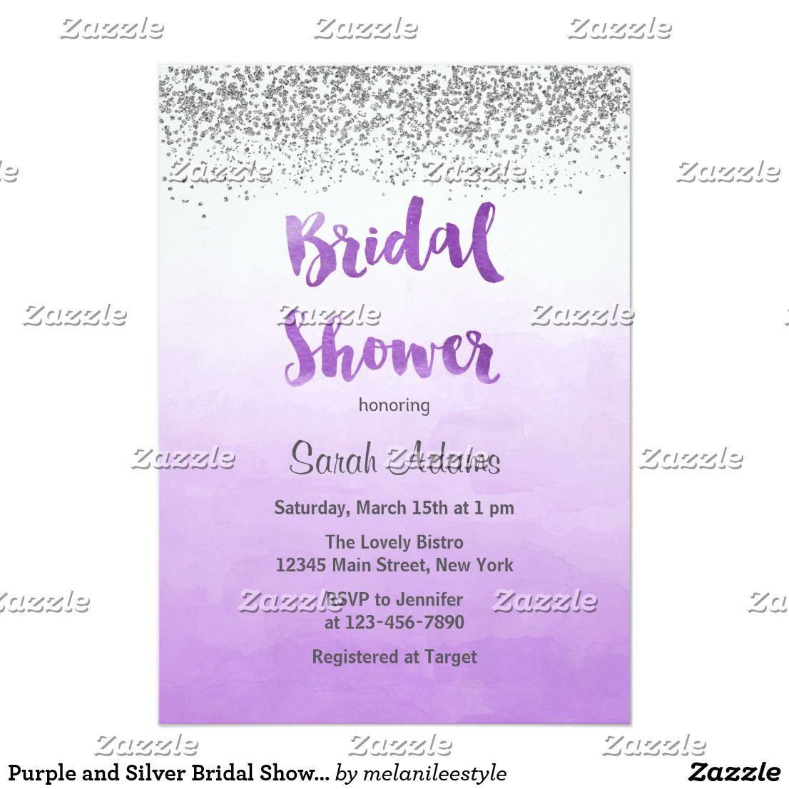 purple and silver bridal shower invitation bridal shower invitation with silver glitter look design and ombre