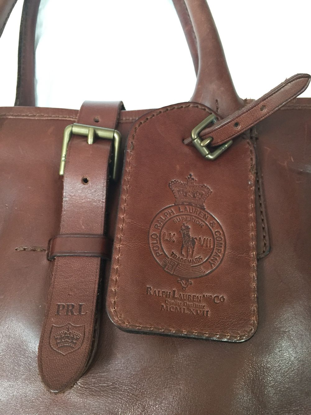 Polo Ralph Lauren Brown 100 Leather Tote Weekend Bag Ebay