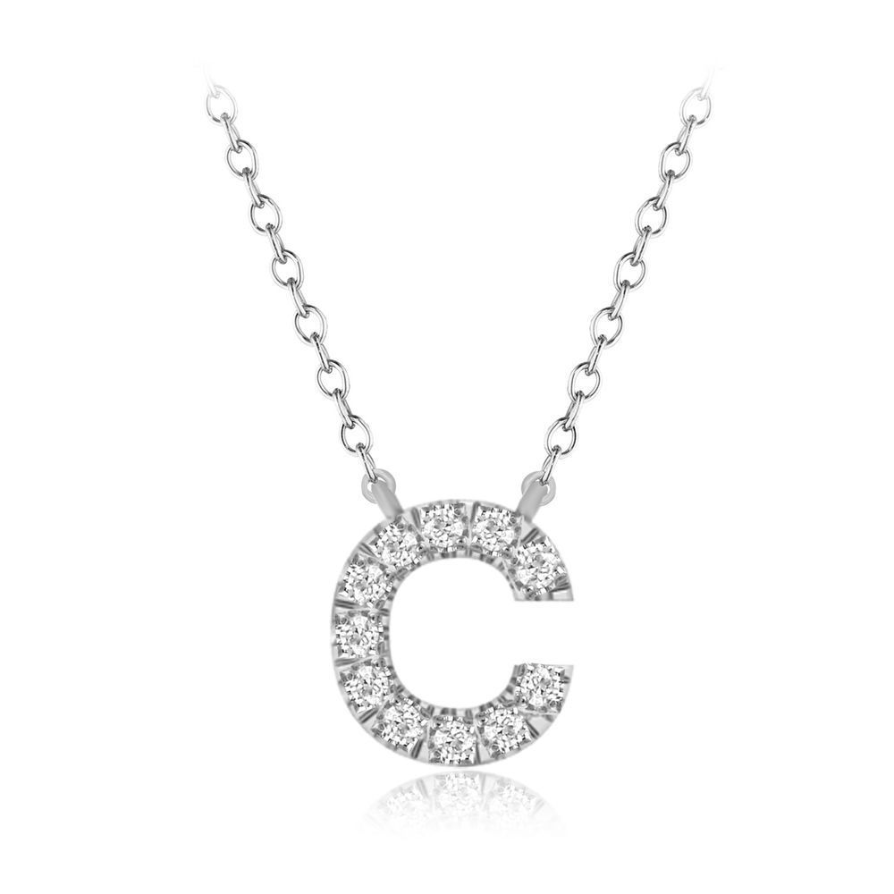 Mothers day gift k diamond initial alphabet letter c pendant chain