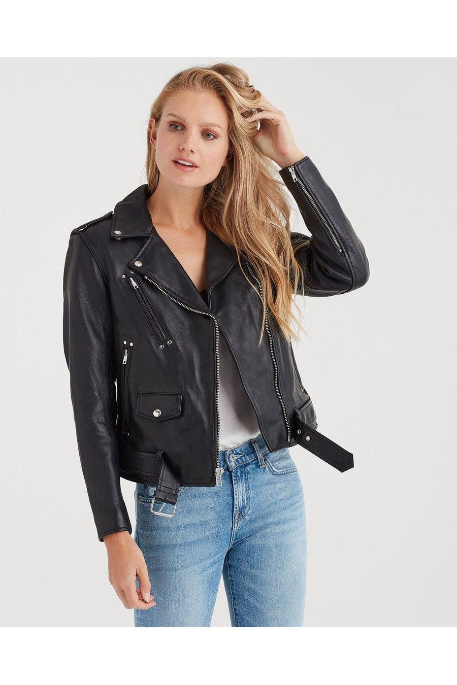 Basic Leather Biker Jacket In Black by 7 For All Mankind