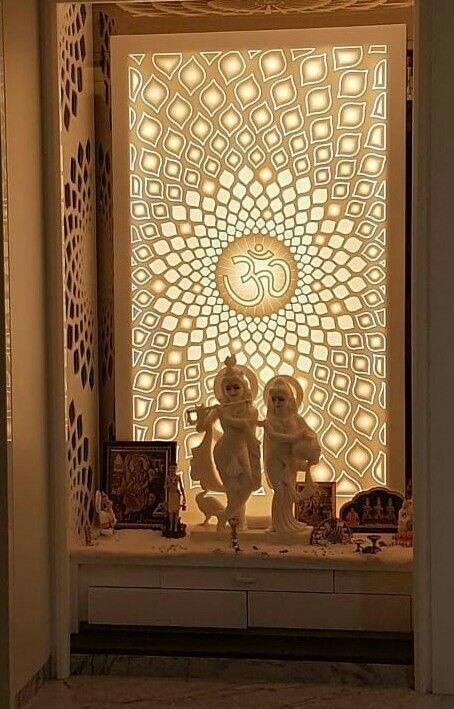 Corian temple | Pooja room door design, Pooja room design