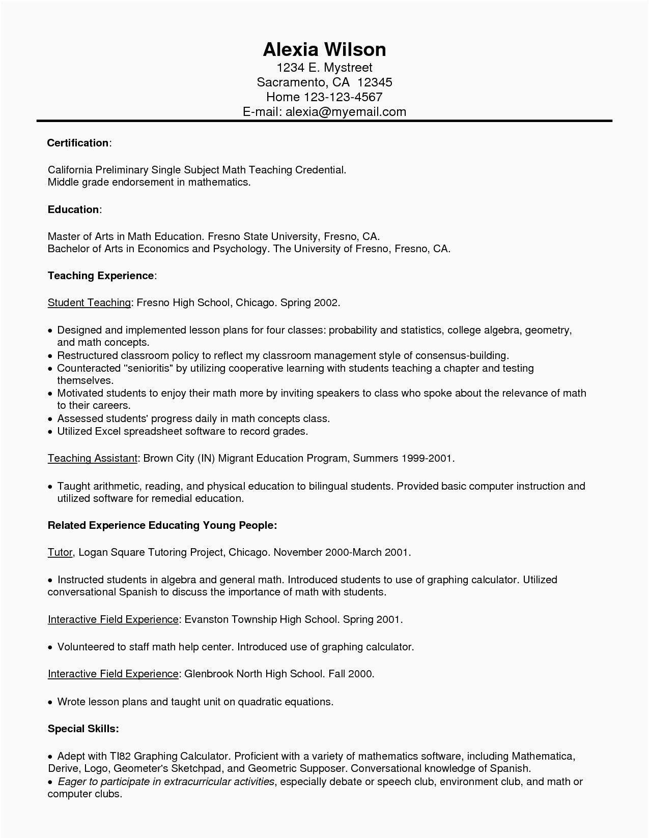 3 Math Geometry sample resume for master teacher new