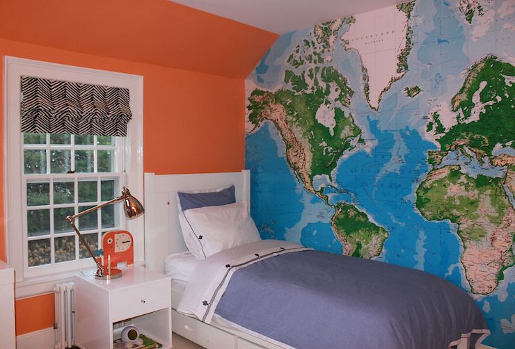 Laura Tutun Interiors Boys Rooms Orange Accent Wall Orange - Boys room with maps