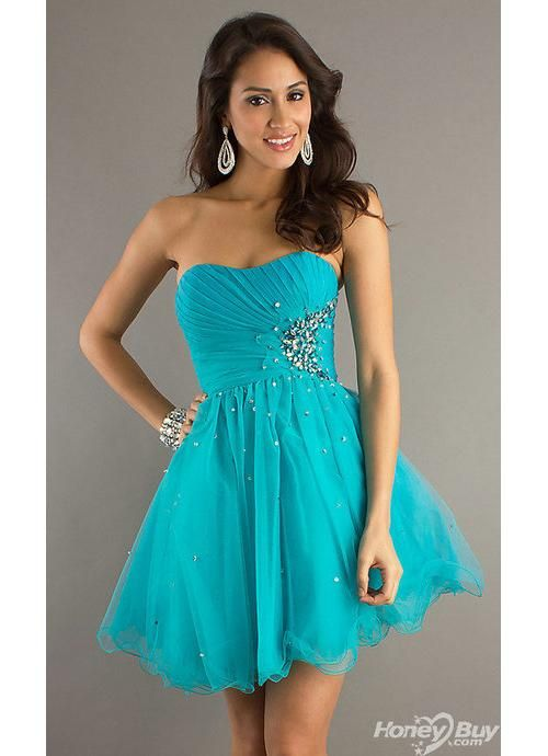 Teal Short Prom Dress - Ocodea.com