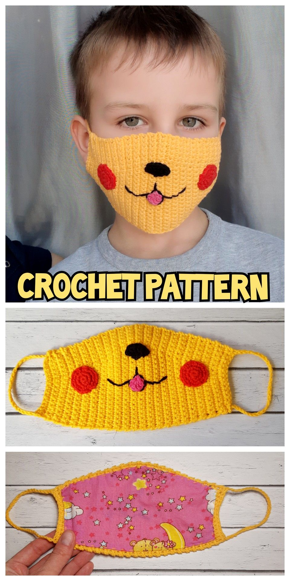 Photo of FACE MASK crochet pattern PDF, Reusable Face Mask Pattern, Funny Mask for kids and adults, Washable