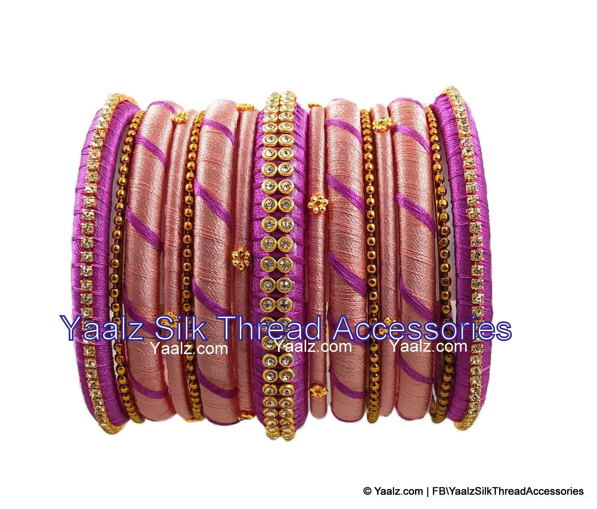 Indian Bollywood Designer Partywear Fashion Jewelry Bangle Pair Baby-Pink, 2.6