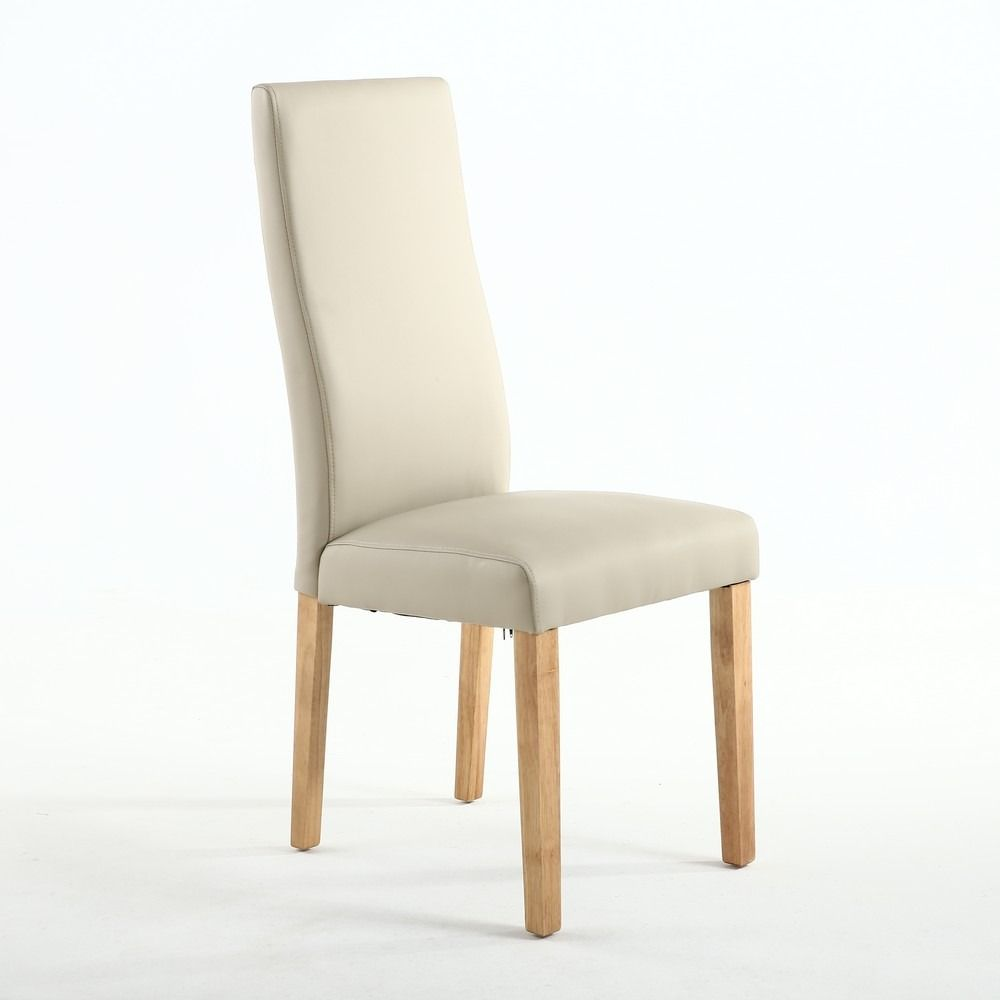Anna Matt Ivory Leather Wave Back Fabric Dining Chair Fabric