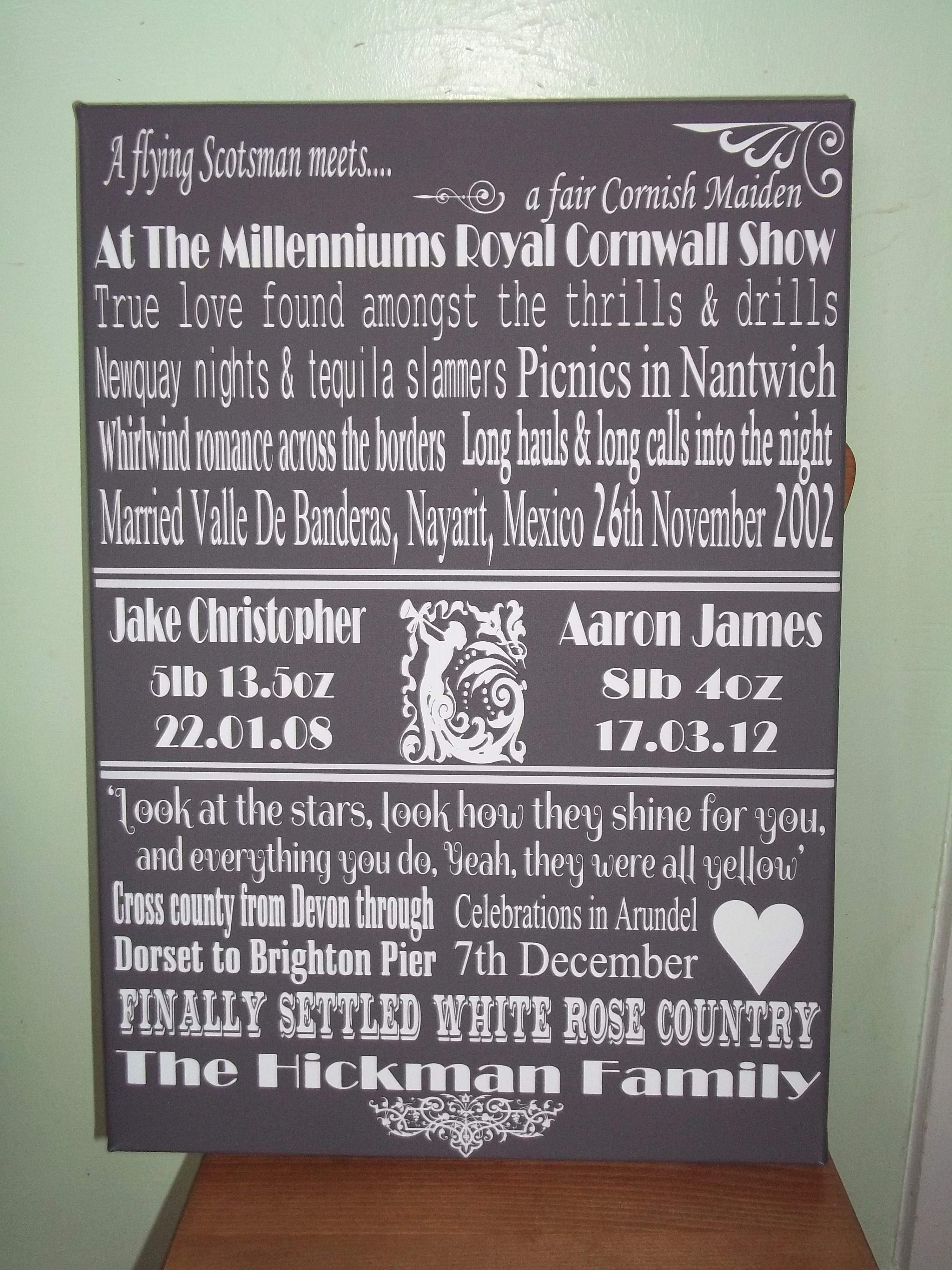 Love Story Canvas Wedding Anniversary Gift By Www