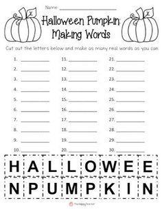 Word Work Activity For Halloween School Halloween