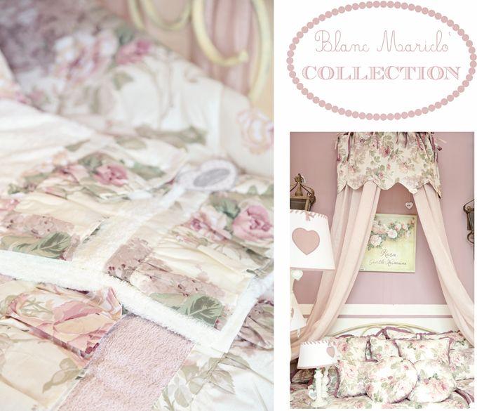 Blanc mariclo romantic bedroom roses curtain cushions and bathtowels home interiors rose - Blanc mariclo mobili ...