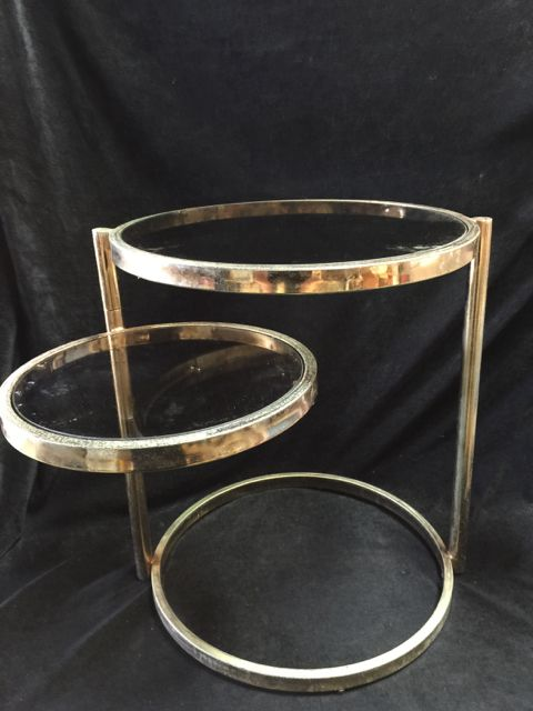 Mid Century Milo Baughman Style Metal Two Tier Circle Swivel Side Table With Glass Tops Gold Tone Met Vintage Mid Century Furniture Gold Side Table Side Table
