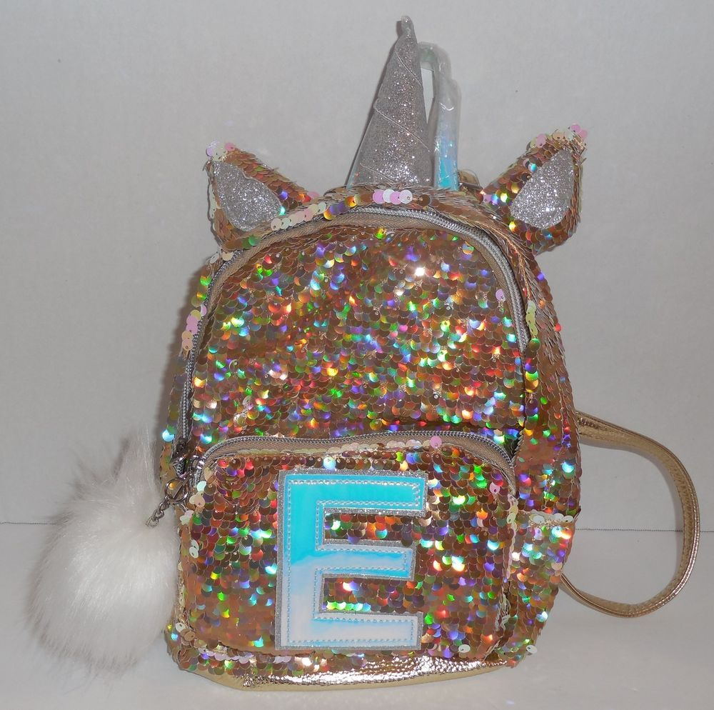8666574503a6 Justice Girls Initial E Mini Backpack Unicorn Reversible Flip ...