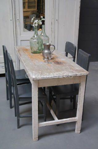 Brocante Kleine Tafel.Eettafel 20014 Brocante Houten Eettafel In Een Witte Kleur De