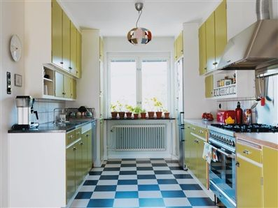 """Here's my kitchen... """"yellow 50s kitchen"""" I told you! Yellow with white and red accents plus the black and white checked floor. It screams retro!"""