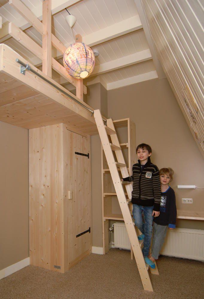 Videbed hoogslaper van nieuw steigerhout met kast loft beds pinterest lofts - Mezzanine verlichting ...