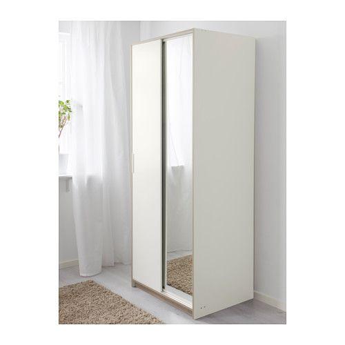 trysil wardrobe - white  mirror glass