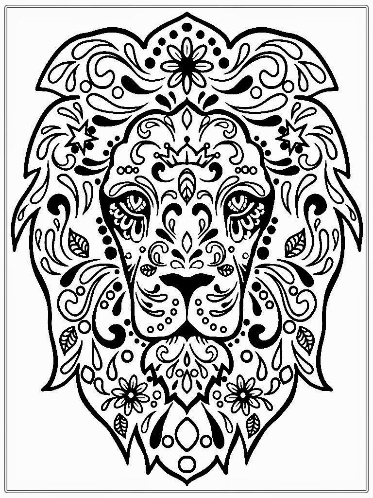 Free printable coloring pages for grown ups - Free Printable Lion Face Pictures To Color For Adults In Post At May 2017