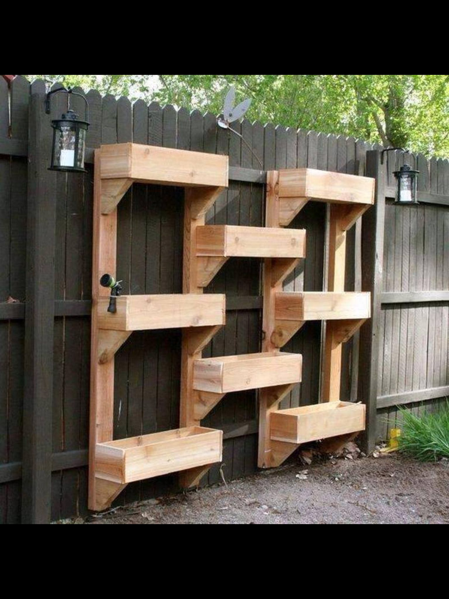 Upright garden for herbs greens gardening pinterest herbs diy vertical wooden box planter is great also pinning for the lantern idea along the interior fence this would be so great for the kids at night with baanklon Gallery