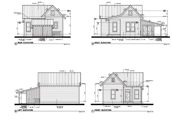 rear elevation of cabin country farmhouse historic house plan 73799 - Farmhouse Elevations