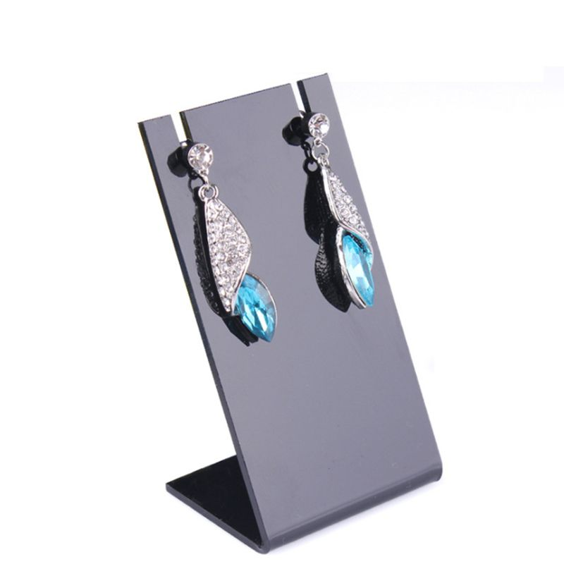 2pcs L Shaped Earring Holder Black Jewelry Organizer Ear Stud Rack
