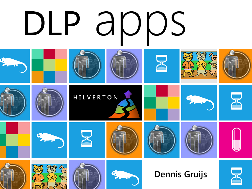Openingslide of a 3 slide presentation I gave. Showing my name, logo and a few of my app tiles.