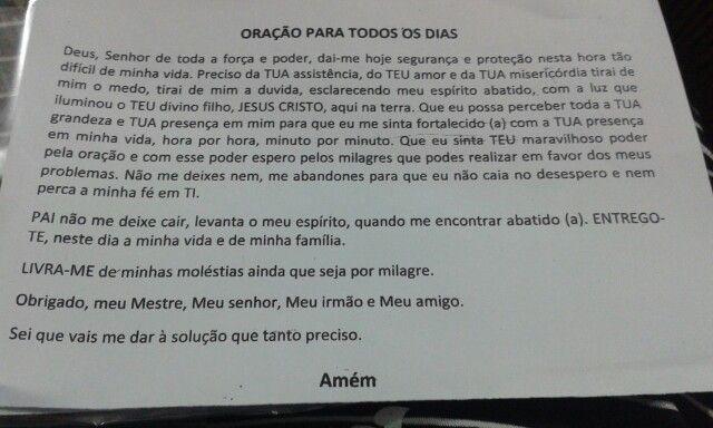 Uma oração, sempre acalma o coração.