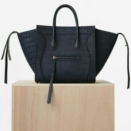 d7aa75eabada Céline MEDIUM LUGGAGE PHANTOM HANDBAG IN NAVY BLUE NUBUCK STAMPED CROCODILE