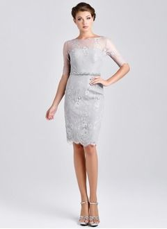 Sheath/Column Scoop Neck Knee-Length Satin Tulle Mother of the Bride Dress With Lace Beading