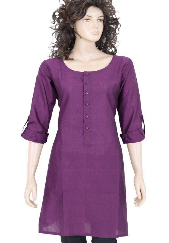 559a6b5001b Indian Ethnic Dark Purple Plain Cotton Short Top / Tunic / Kurti / Kurta /  Women Dress - Woman Shirt