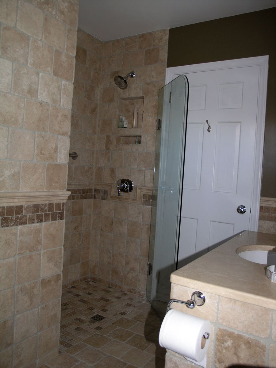 55 year old halfbath turned into a full bath wet room in