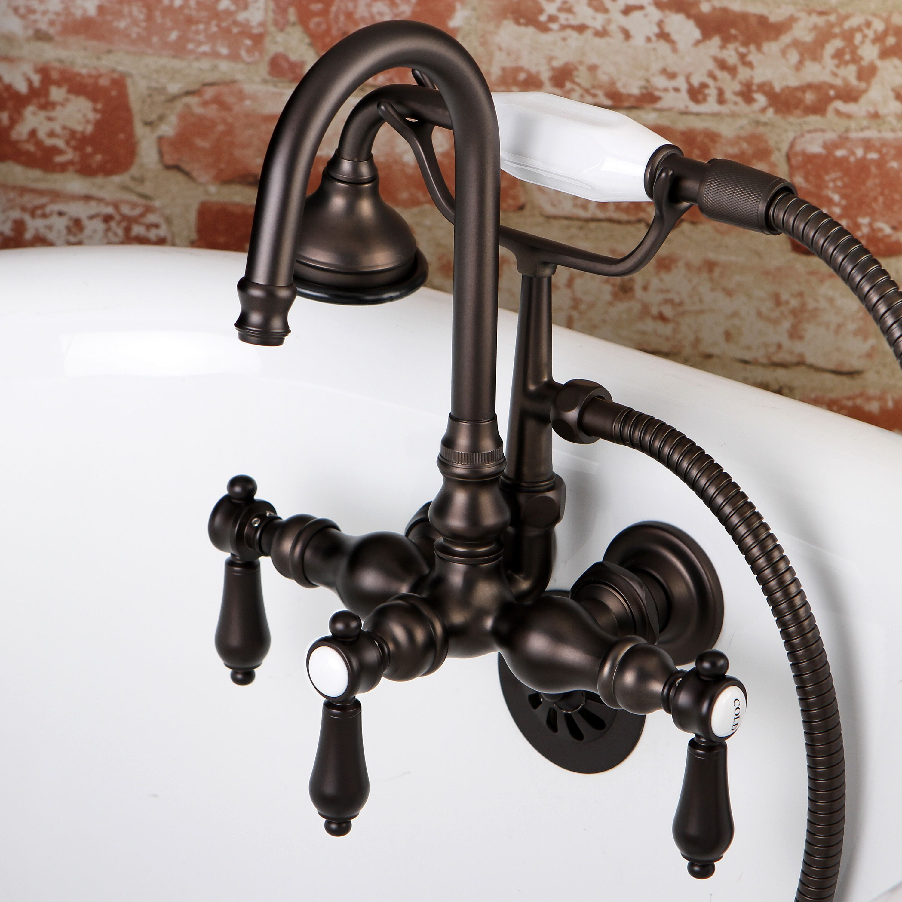 Kingston Bathtub Wall Mount Claw Foot Tub Filler With Handshower In Oil Rubbed Bronze Clawfoot Tub Faucet Clawfoot Tub Wall Mount Tub Faucet