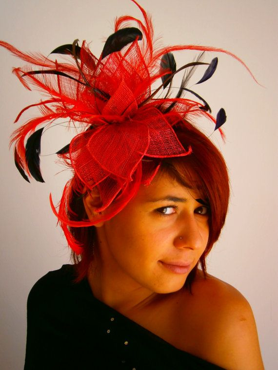 Red Black Fascinator