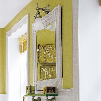 25 Thrifty Ways To Redesign Your Bathroom On A Dime Bathroom Mirror Makeover Home Yellow Bathrooms