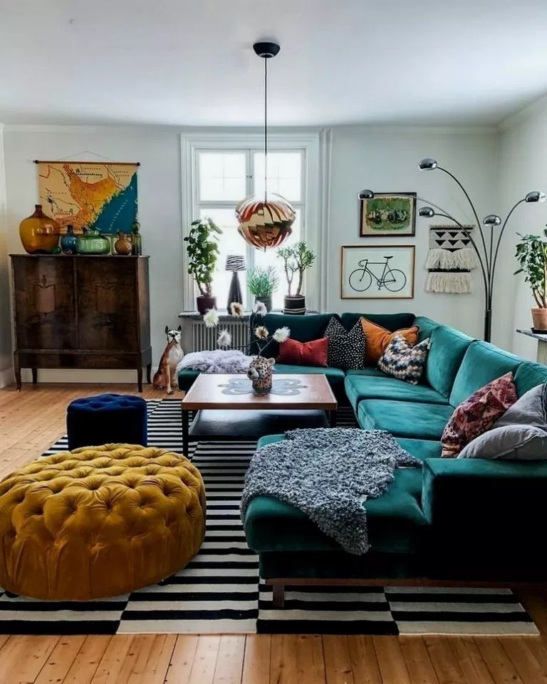 Colorful Eclectic Living Room, Retro Living Room