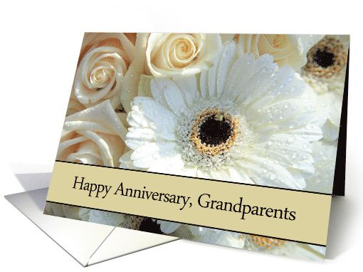 Anniversary card for grandparents pale pink roses card my