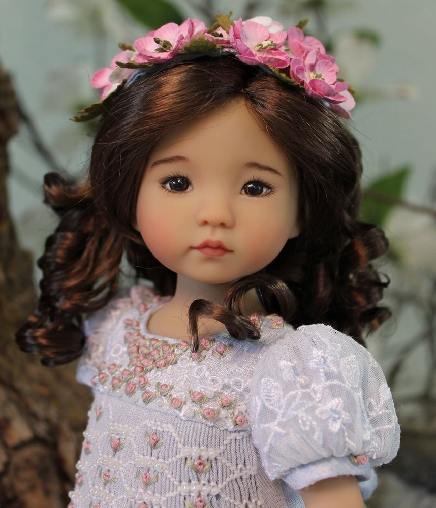 """MHD Designs - Diana Effner's 13"""" Little Darling #2 - Painted by Joyce Mathews and dressed in Bleu Ciel by Magalie Dawson, MHD Designs via eBay auction ends Tuesday, 5/24/16"""