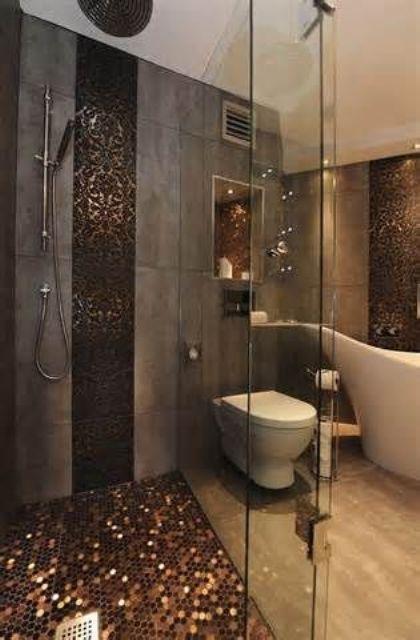 The Hottest Décor Trend 27 Metallic Tile Décor Ideas bathroom