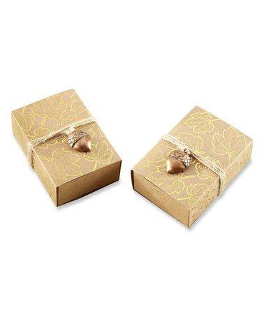 Look at this #zulilyfind! Gold Foil Leaf & Acorn Charm Favor Box - Set of 24 #zulilyfinds