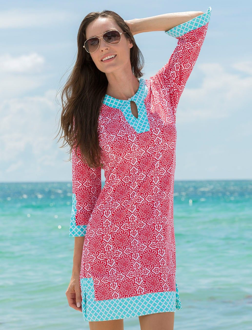 Cabana Life Womens Red and Turquoise Printed Cover Up with 50+ UV Protection #safeinthesun