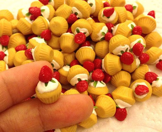 Miniature Sweet  Cup cake Strawberry 10pcs For Deco by SweetieTiny, $7.99