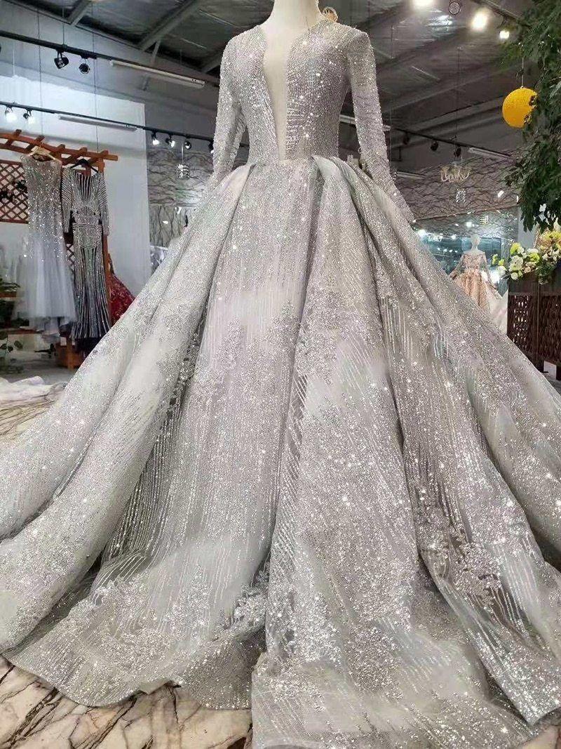 Deep V Neck Long Sleeve Wedding Gown
