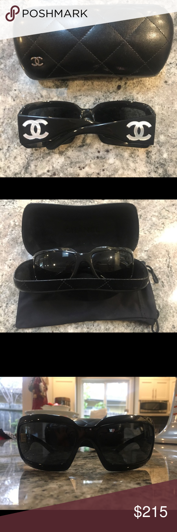 cf61824c5cd CC Mother of Pearl Sunglasses    Hard to find this iconic pair of Chanel  glasses. No longer made.   ▫️Chanel 5076h ▫️Black Mother of Pearl Sunglasses  ...