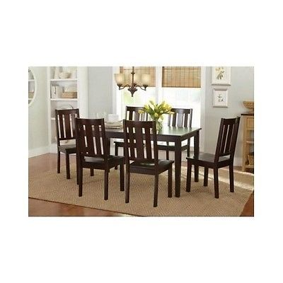 Dining Room Table & 6 Chairs 7 Set Espresso Solid Wood Kitchen Seating Furniture