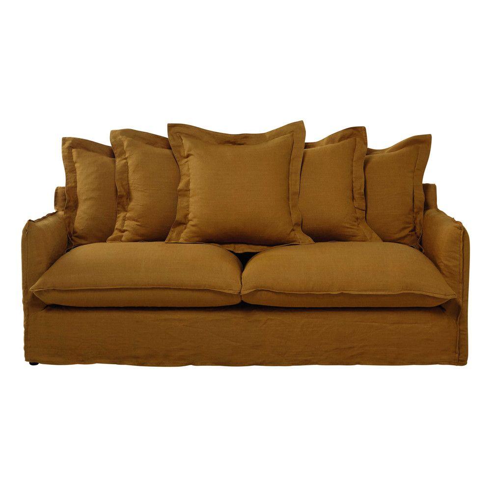 Canape Convertible 3 4 Places En Lin Lave Jaune Moutarde Canape Lin Mobilier De Salon Canape